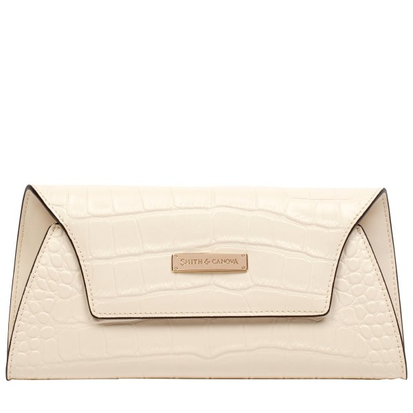 Croc Print Leather Envelope Clutch
