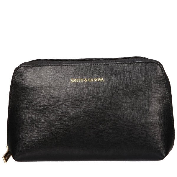 Saffiano Leather Zip Top Cosmetic Bag
