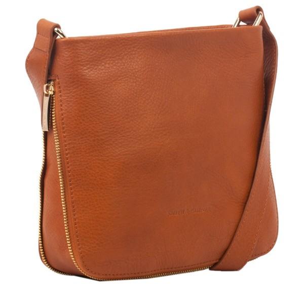 Pebbled Leather Zip Top Cross Body Bag