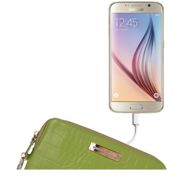 Embossed Leather Usb Charging Clutch
