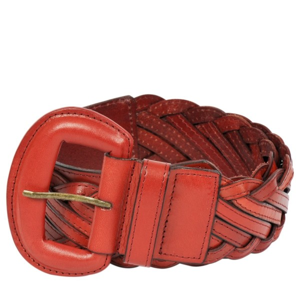 Wider Rounded Buckled Woven Belt