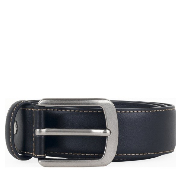 Cream Edge Stitch Leather Belt