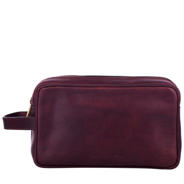 Antiqued Leather Double Zip Washbag