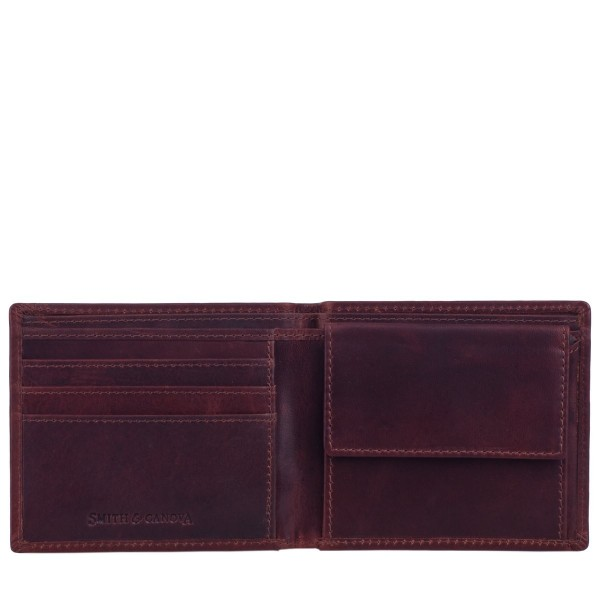 Distressed Leather Wallet W/ Coin Tray