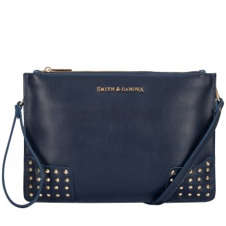 Corner Studded Zip Top Clutch/cross Body