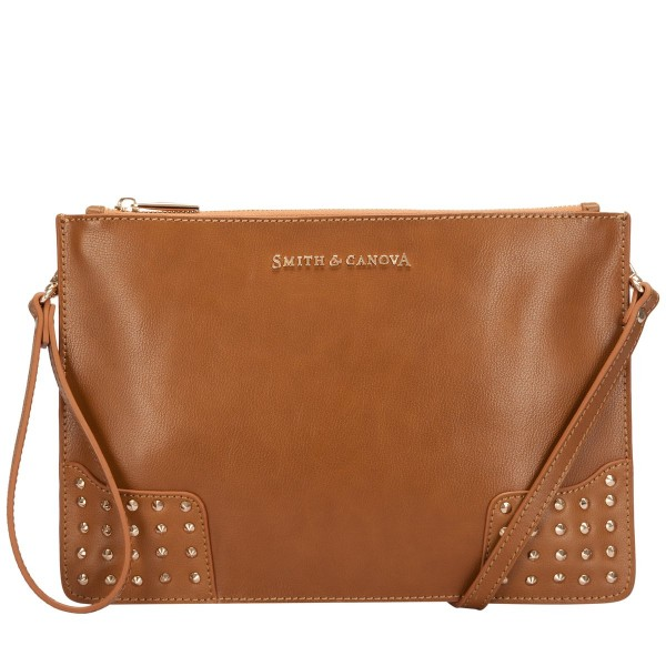 Smooth Leather Stud Detail Zip Clutch