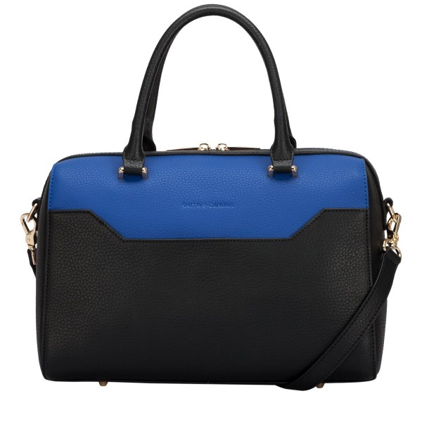 Two-tone Leather Zip Top Grab Bag
