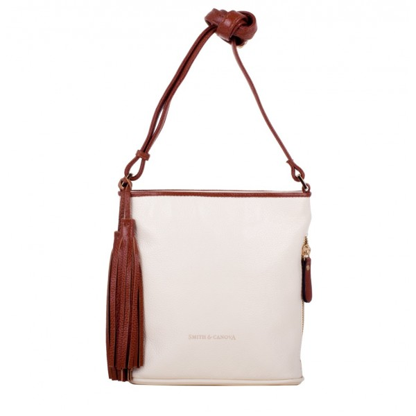 Pebbled Leather Zip Top Cross Body Bag