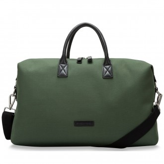 Zip Top Nylon & Leather Holdall