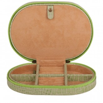 Oval Zip Round Jewellery Case