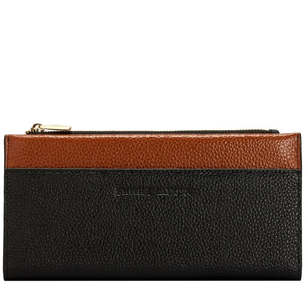 Pebbled Leather Zip Top Pocket Purse