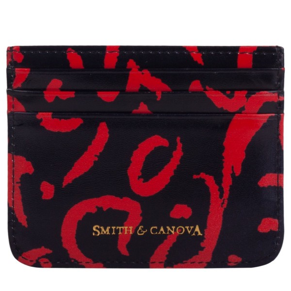 Smooth Leather Animal Print Card Holder