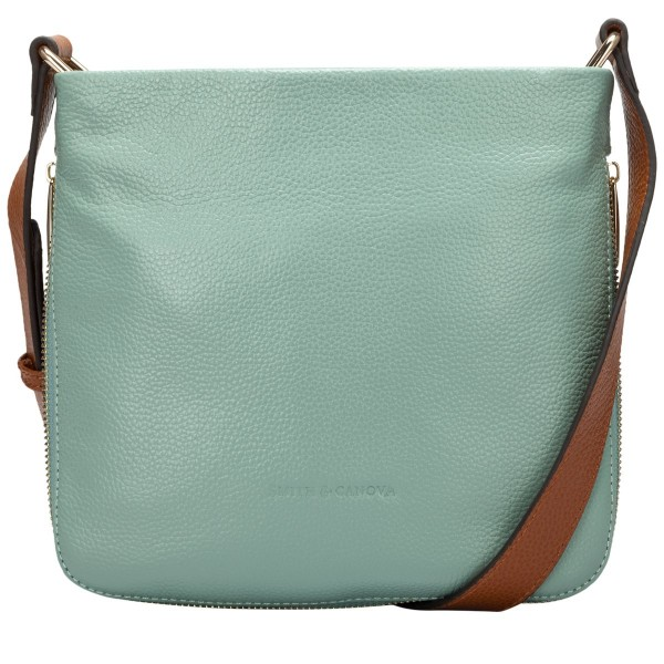 Pebbled Leather Zip Cross Body Bag