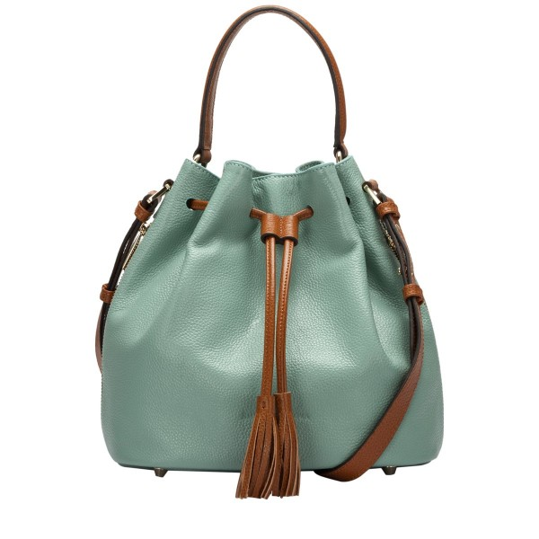 Pebbled Leather Bucket Shoulder Bag