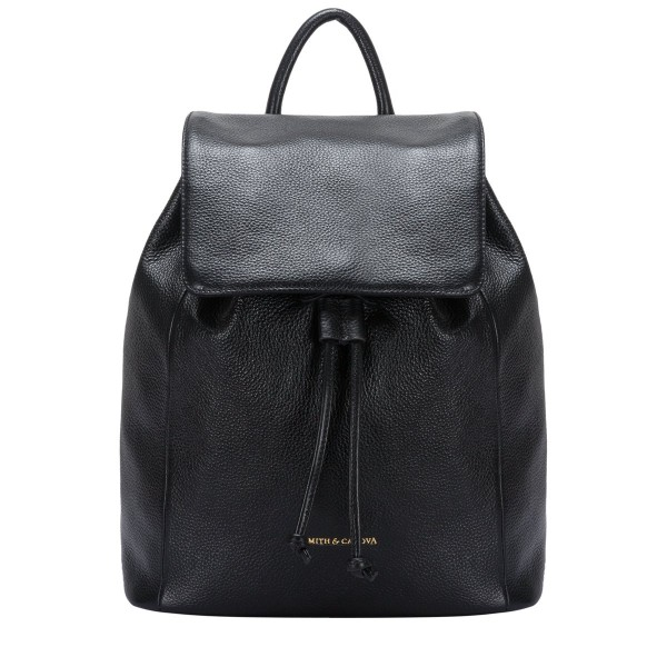 Pebbled Leather Drawstring Backpack