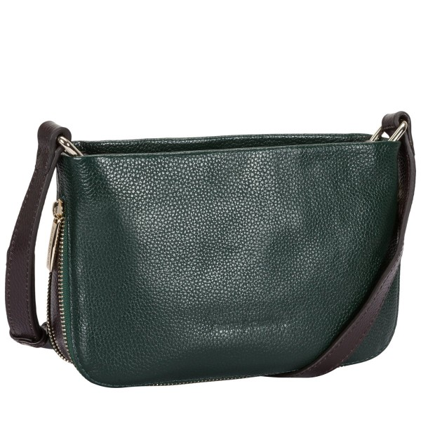 Small Pebbled Leather Zip Cross Body Bag