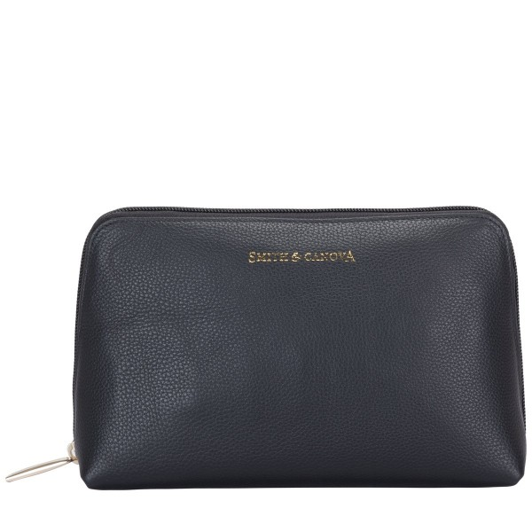 Soft Grain Leather Zip Top Cosmetic Bag