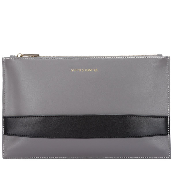 Smooth Leather Zip Top Clutch Bag