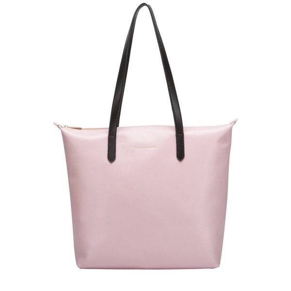 Large Smooth Leather Zip Top Tote Bag