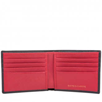 8d8e032a7eab58 Two-tone Saffiano Leather Bi-fold Wallet in Black-Red