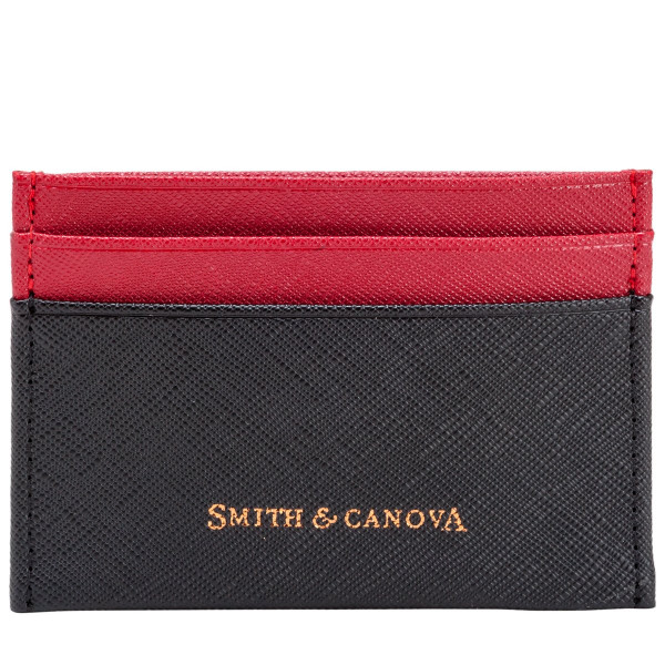 Two-tone Saffiano Leather Card Holder