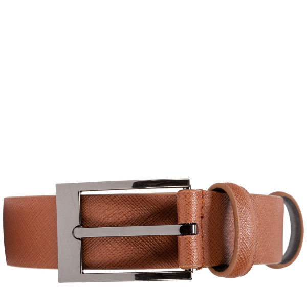 Saffiano Leather Skinny Belt