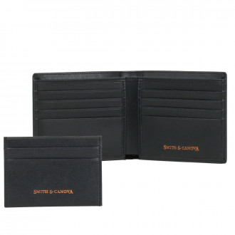 68b77cb876593e Smooth Leather Wallet & Card Holder Set in Black