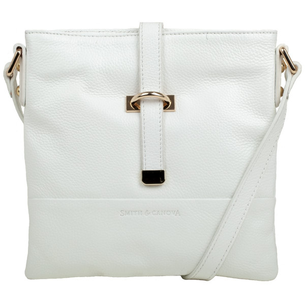 Pebbled Leather Zip Top Crossbody Bag
