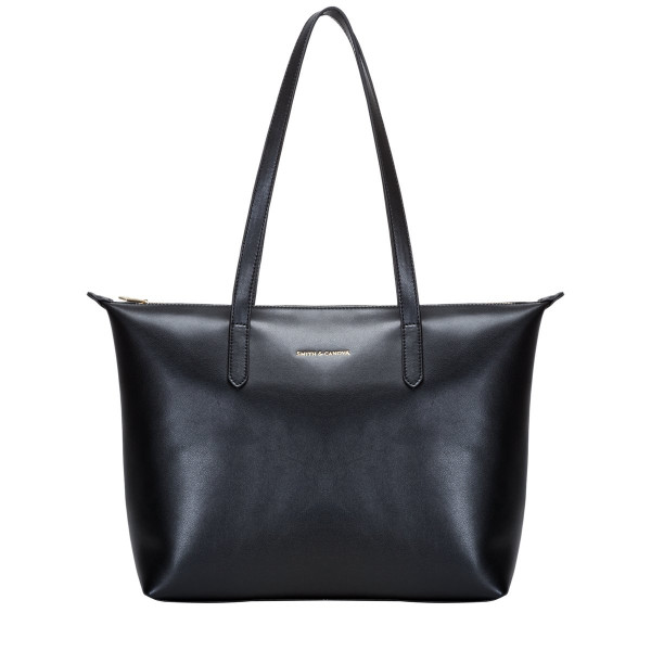 Smooth Leather Zip Top Tote