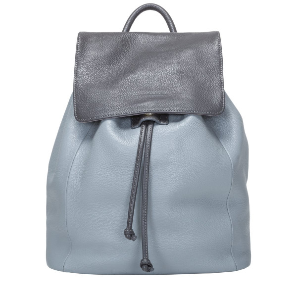 Two-tone Leather Drawstring Backpack