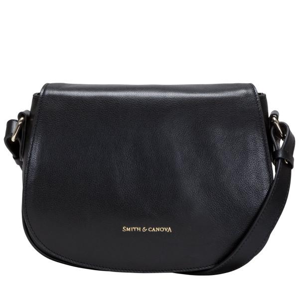 Soft Grain Leather Flapover Saddle Bag