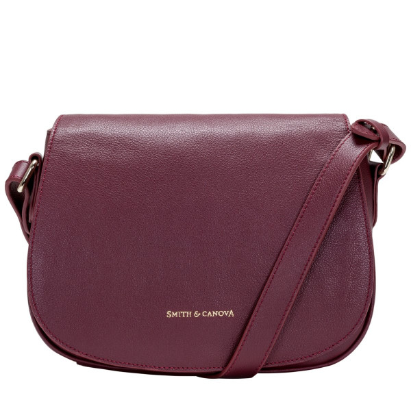 Soft Grain Leather Flapover Saddle Bag