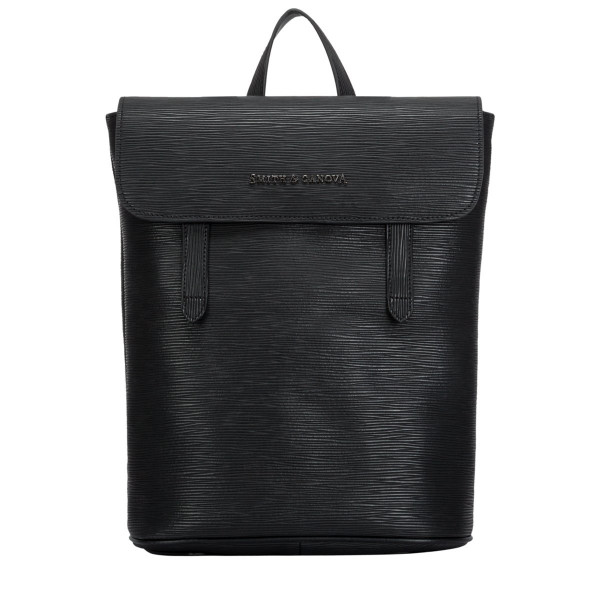 Embossed Leather Flapover Backpack