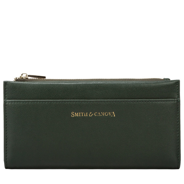 Smooth Leather Long Zip Top Pocket Purse
