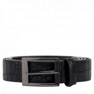 3cm Black Croc Leather Belt