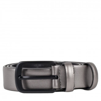 3cm Metallic Pewter Leather Belt