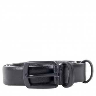 3cm Black Saffiano Leather Belt