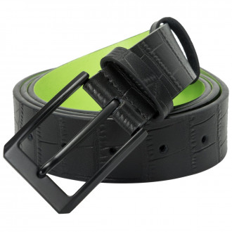 Croc Effect Black & Lime Belt