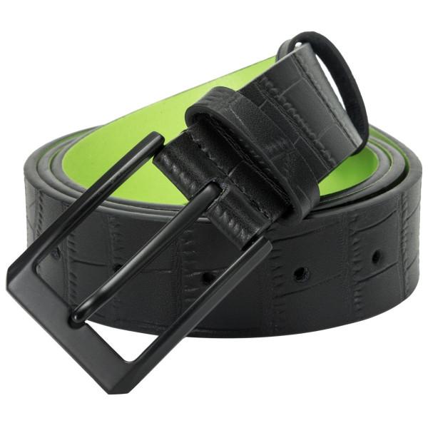 Croc Effect Black & Lime Belt