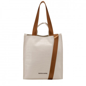 Croc Print Leather Structured Tote Bag