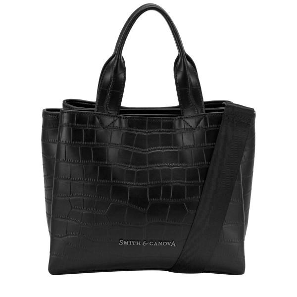 Croc Print Leather Structured Grab Bag