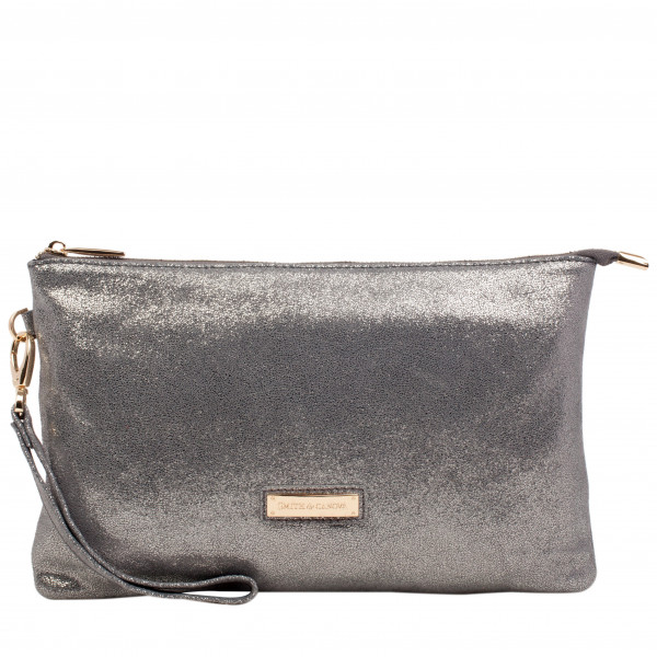 Metallic Effect Large Zip Top Pouch Bag