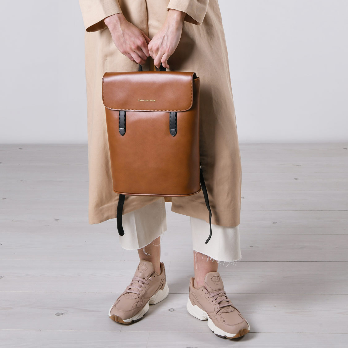 Smith & Canova - Josephine Flapover Backpack Tan